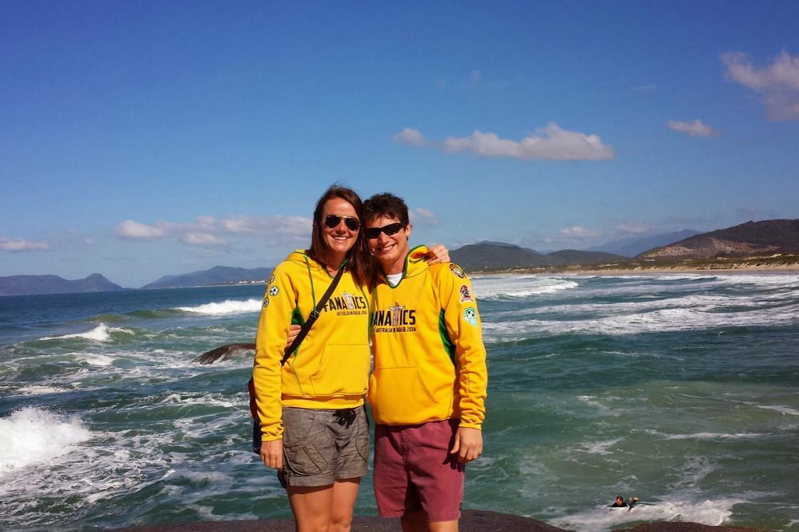 Us on a beach rock