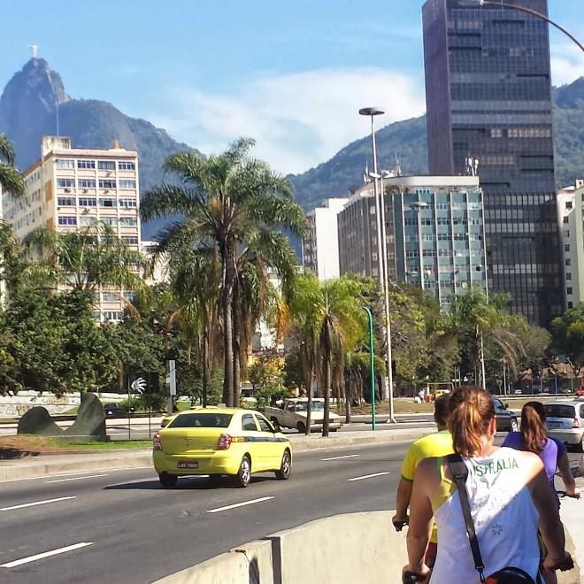 Linnie riding in Rio