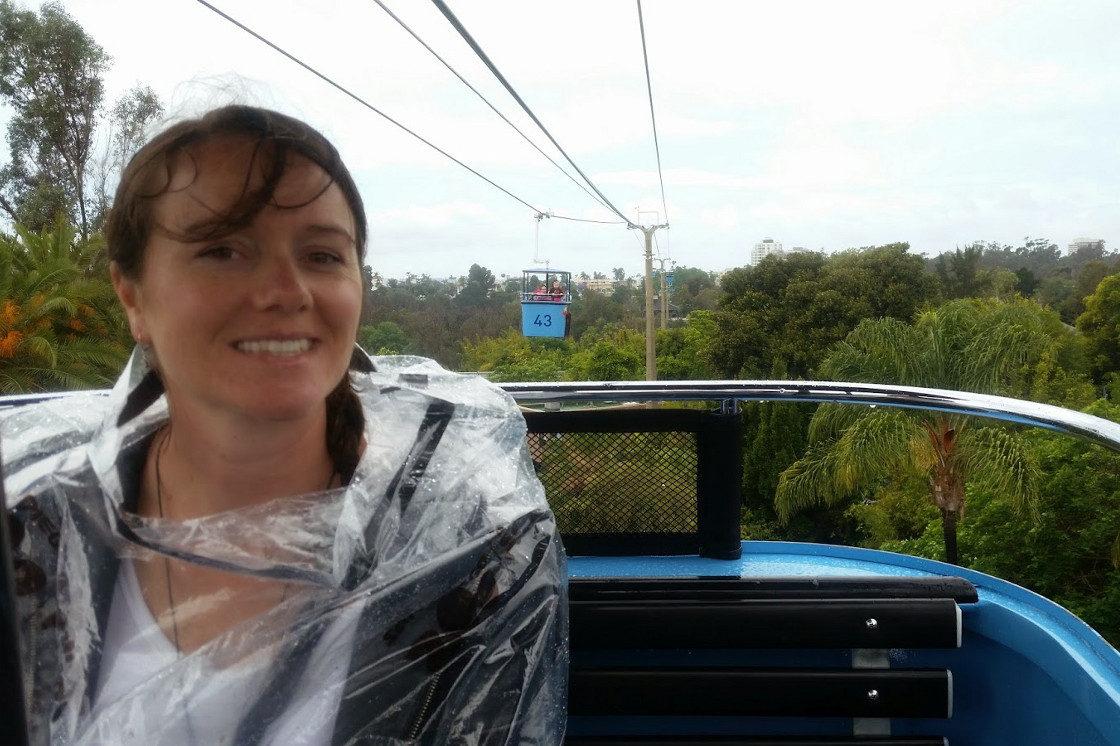 Linnie in raincoat