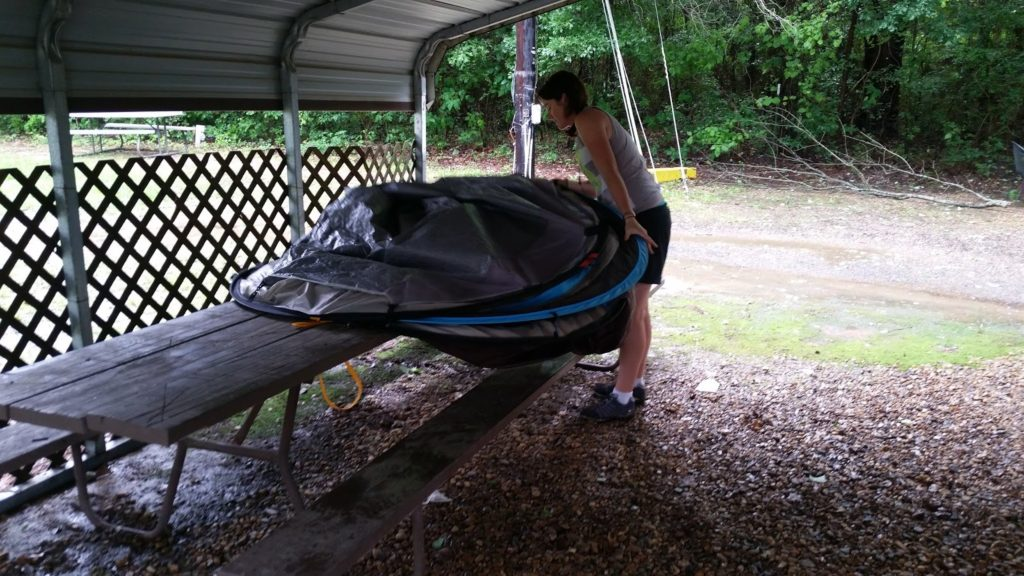 Unpacking tent Louisiana