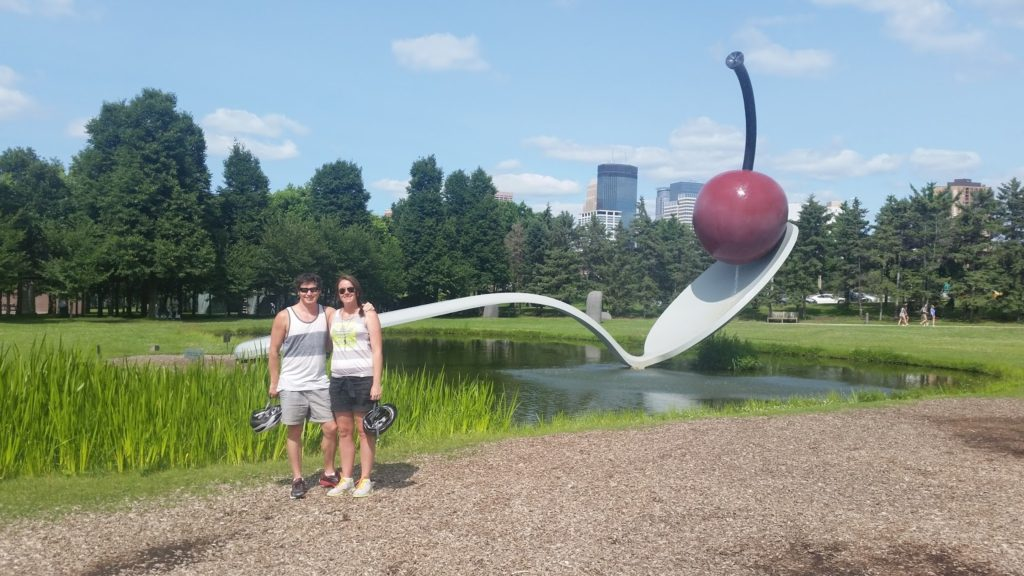 Posing at Minneapolis Spoon Sculpture