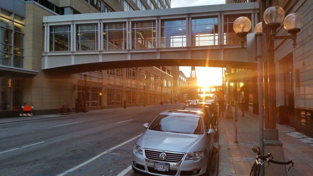 Minneapolis street sunset
