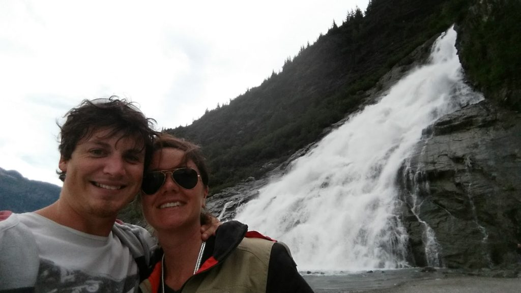 Us at a waterfall