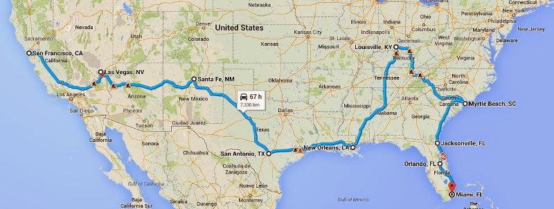 2012 USA Road Trip map