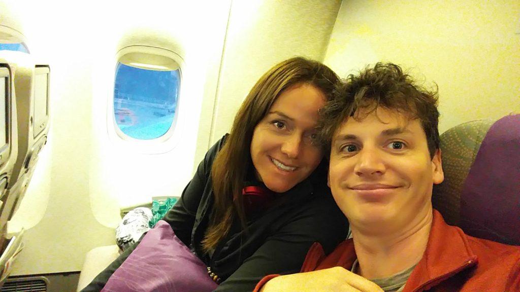 Flight to Paris selfie