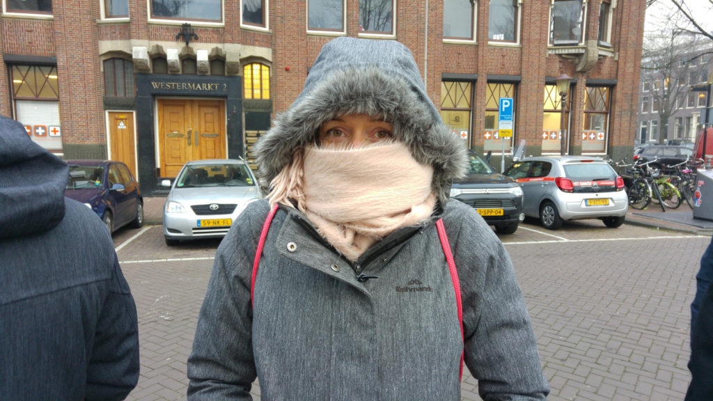 Linnie queuing for Anne Frank House