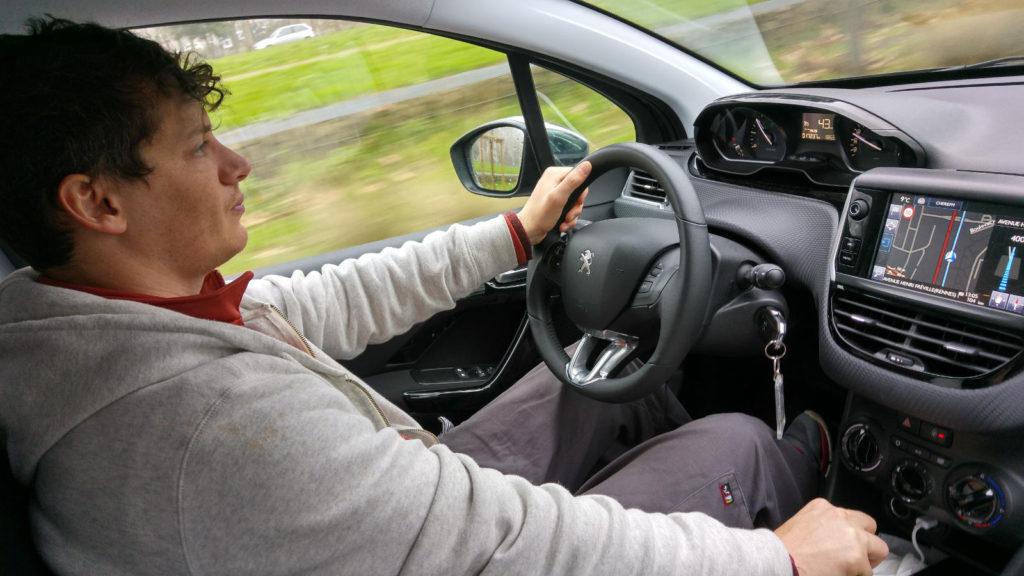 Adam driving to Nantes