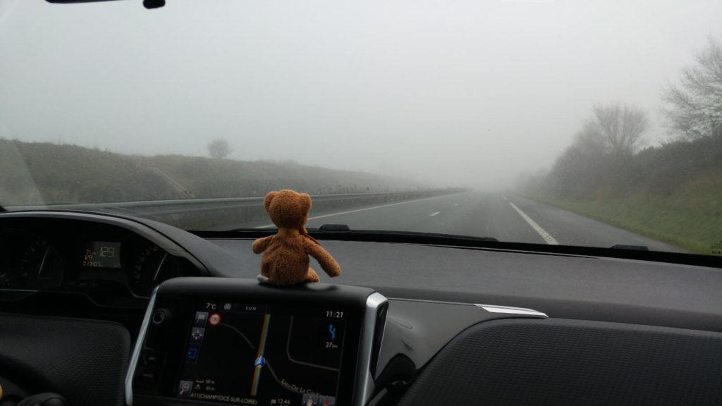 Flint driving in the fog