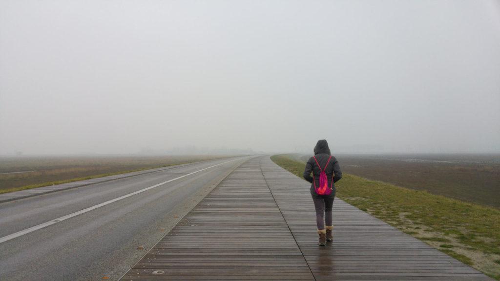 Linnie walking in Normandy