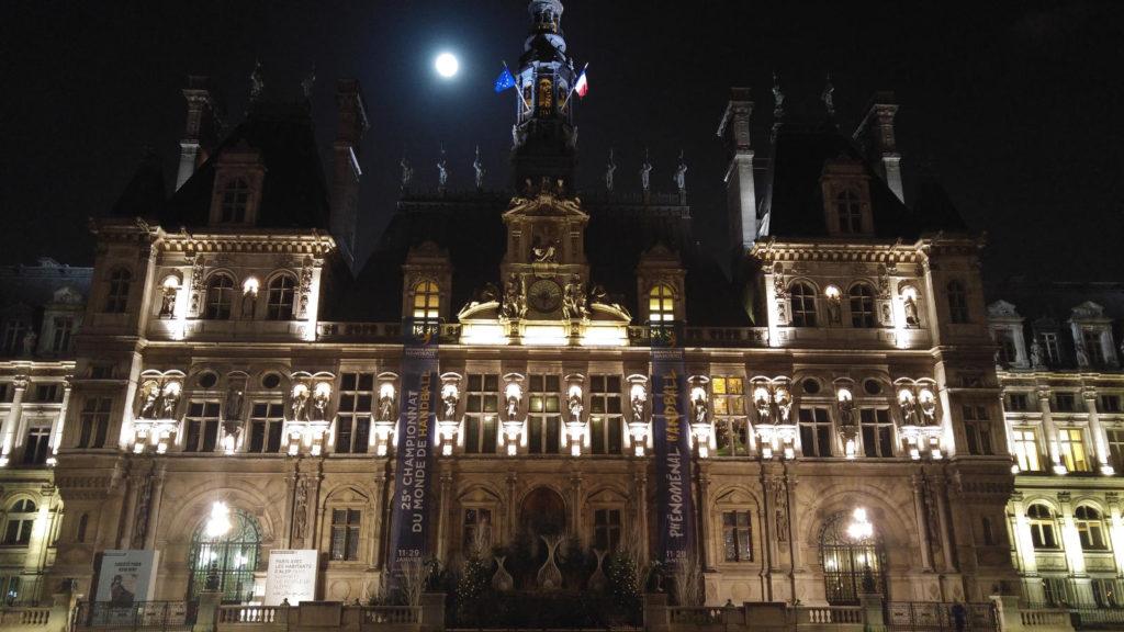 Paris Building with full moon