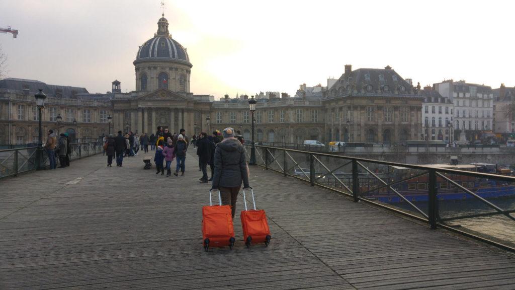 Paris luggage walking