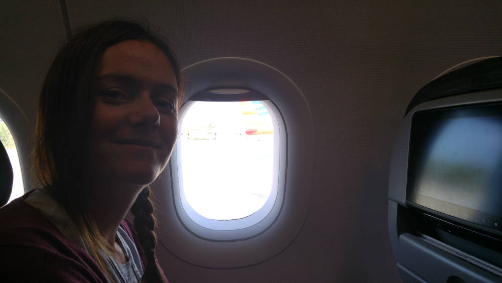 Linda on Orlando plane