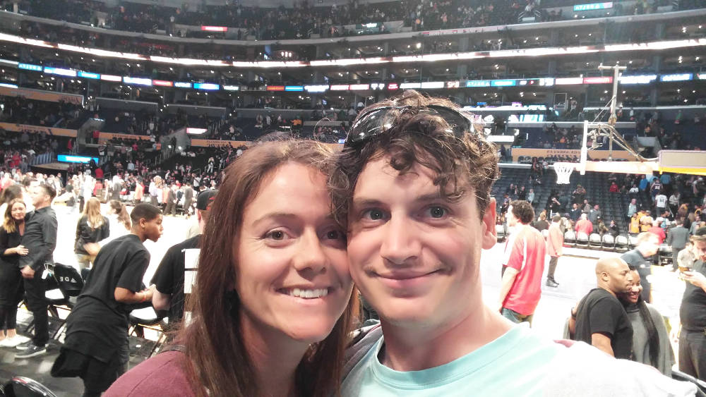 NBA courtside selfie
