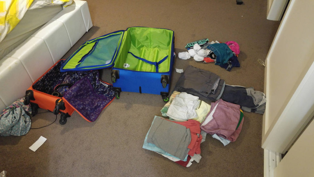 USA suitcase packing