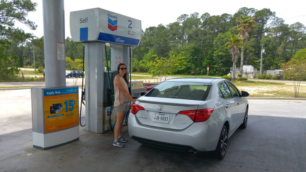 Filling up with petrol in Alabama