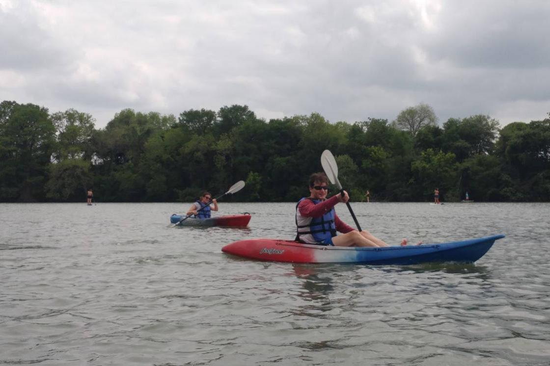 Adam kayaking