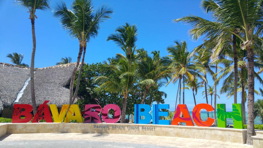 Bavaro Beach sign at day