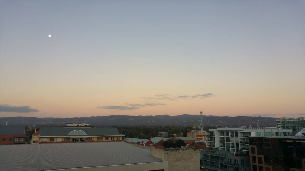 Adelaide skyline view with Moon