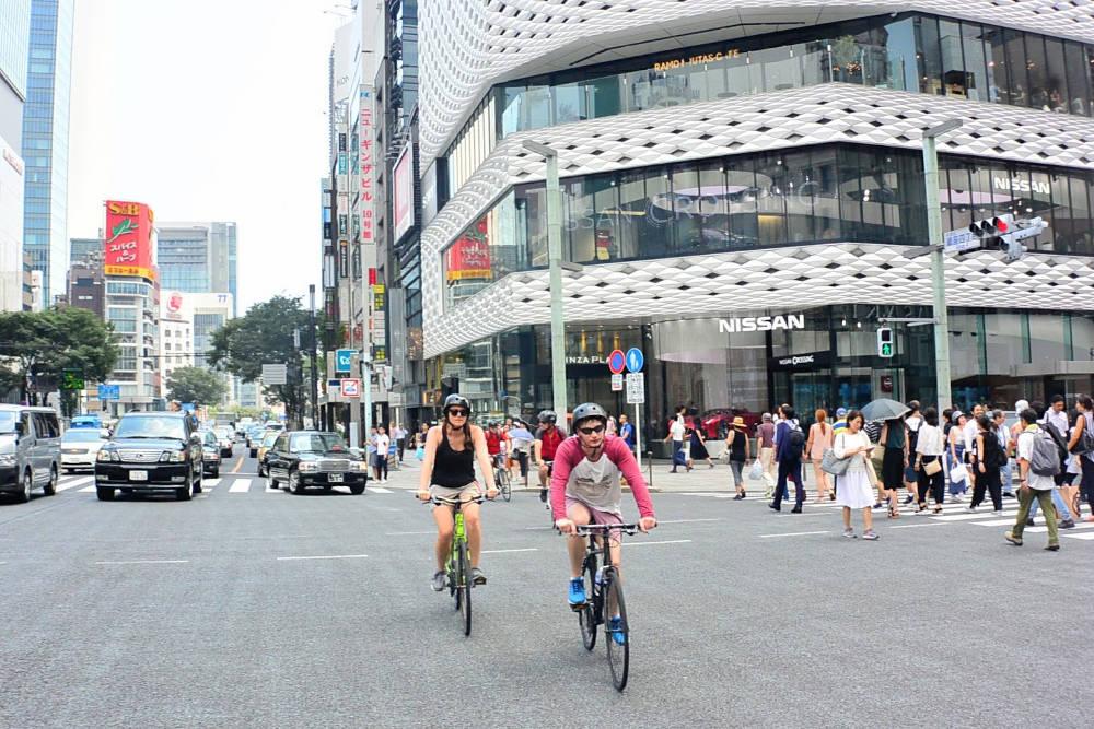 Biking intersection in Tokyo
