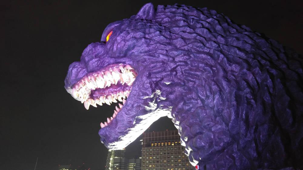 Godzilla on top of Hotel Gracery