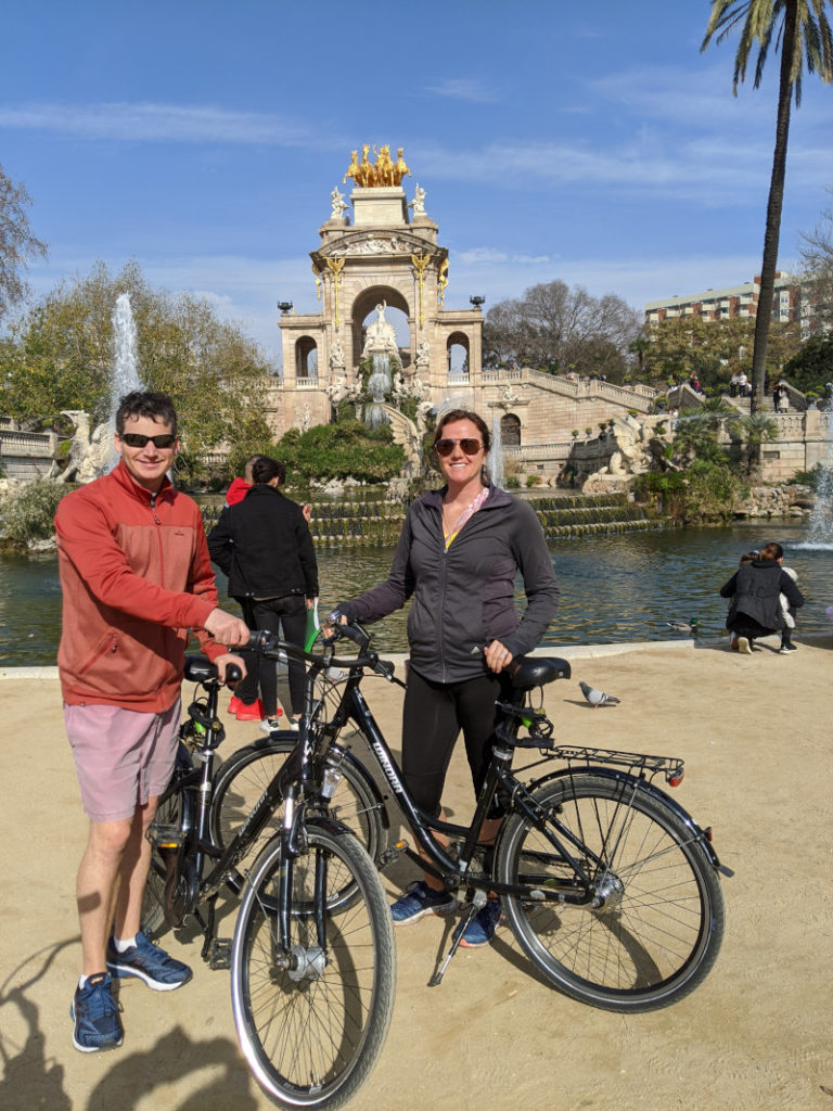 Barcelona bikes at fountain