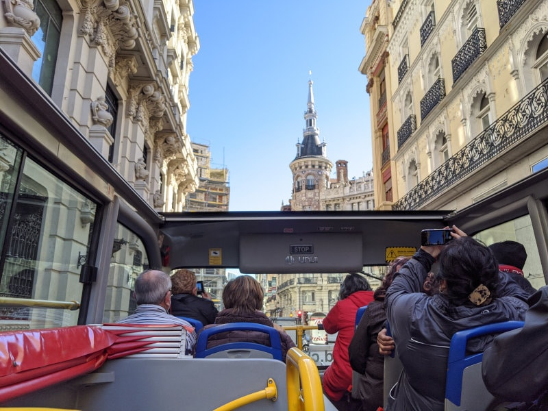 Red bus tour in Madrid