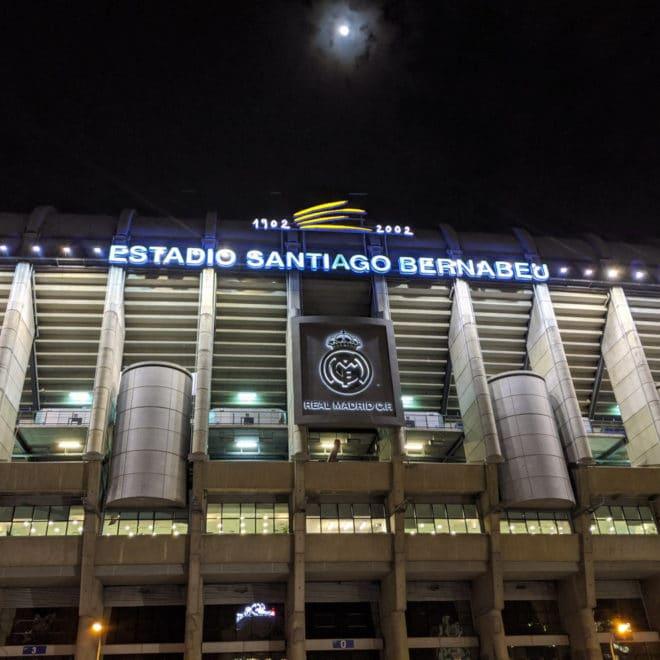 Santiago Bernabeu at night