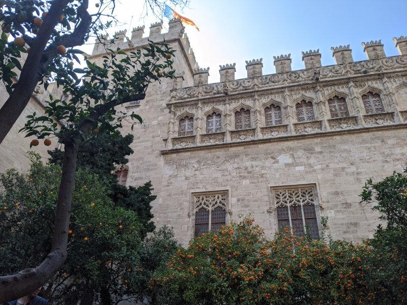 Valencia silk building with oranges