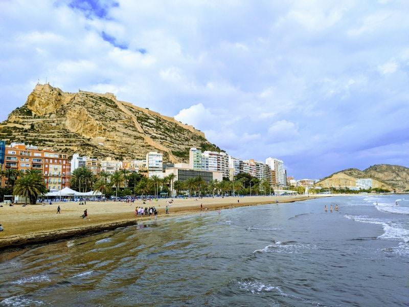 Alicante beach and castle